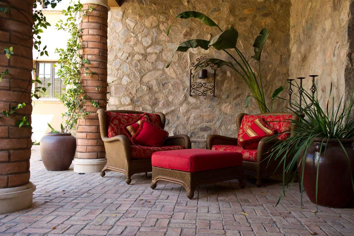 with cushions sunbrella pillows rattan furniture outdoor patio ideas red
